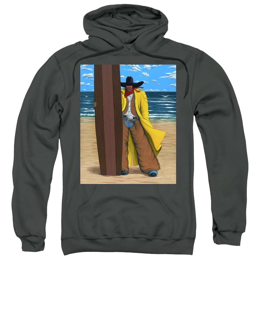 Local Surfer Sweatshirt featuring the painting Cowboy Surfer by Lance Headlee