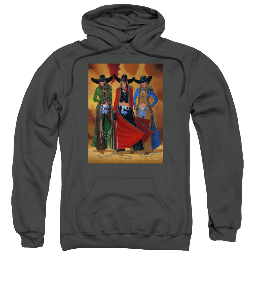 Cowgirl Sweatshirt featuring the painting Cowgirl Up by Lance Headlee