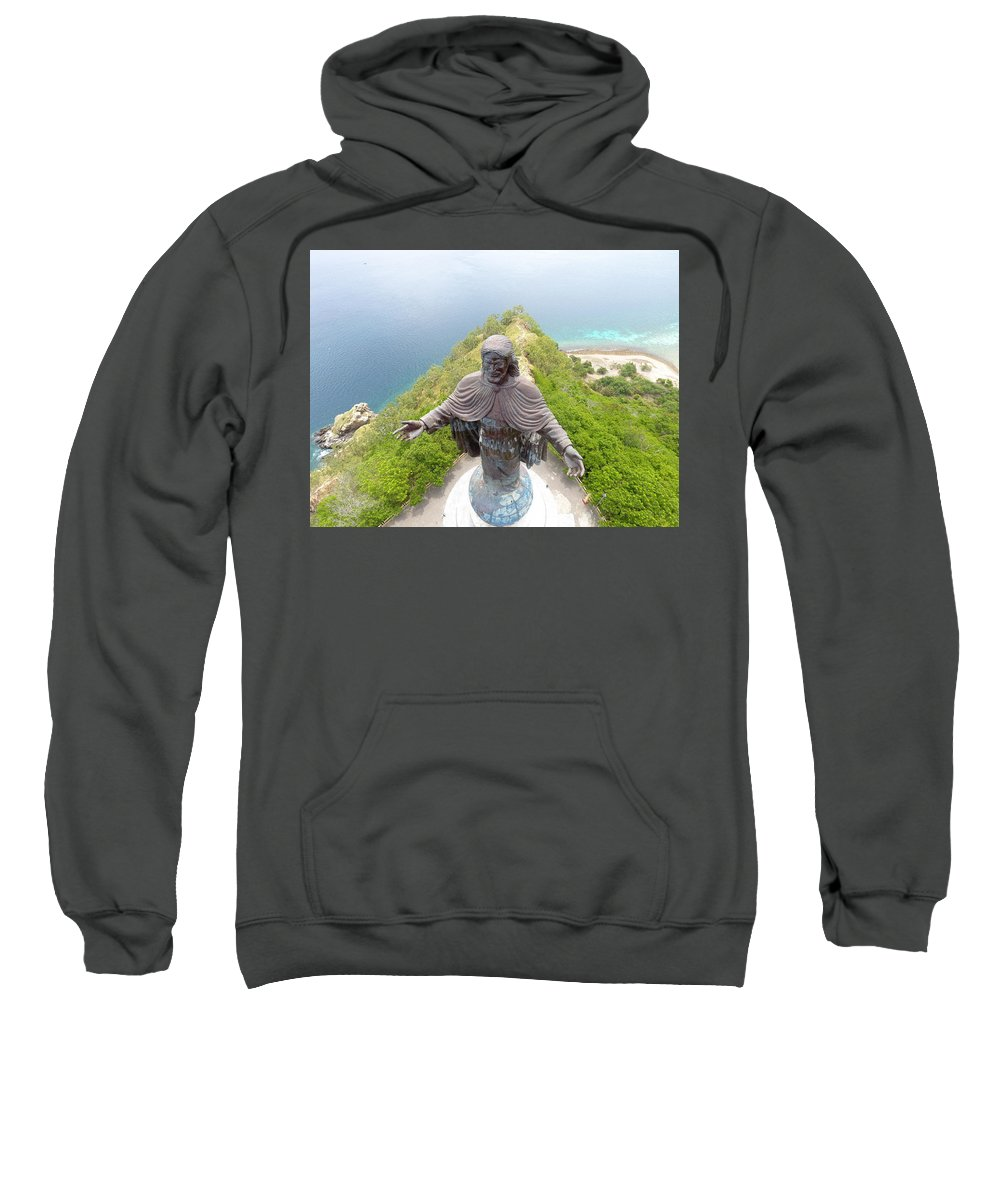 Adventure Sweatshirt featuring the photograph Cristo Rei of Dili statue of Jesus by Brthrjhn2099