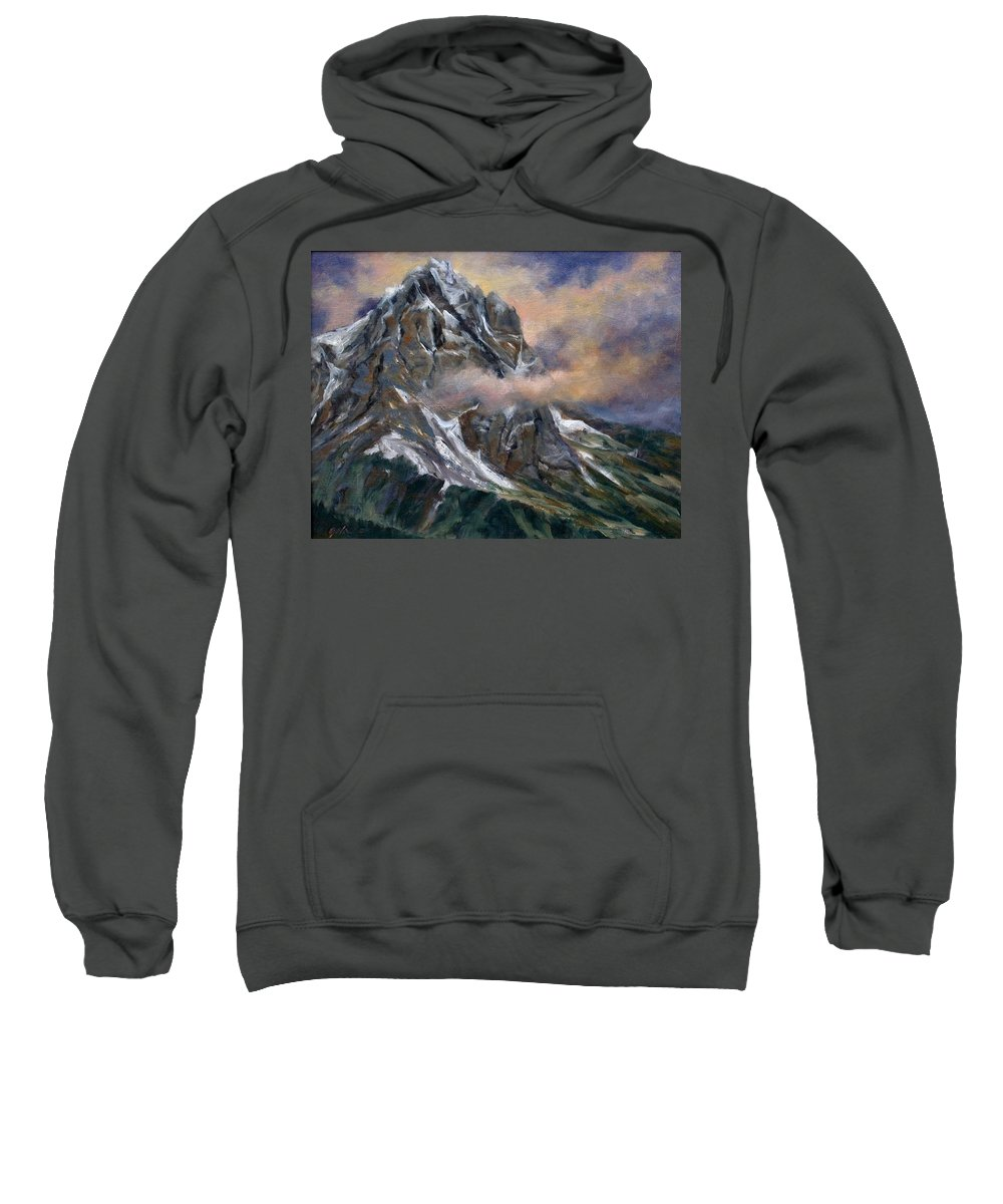 Landscape Sweatshirt featuring the painting Daddy Teton by Jim Gola