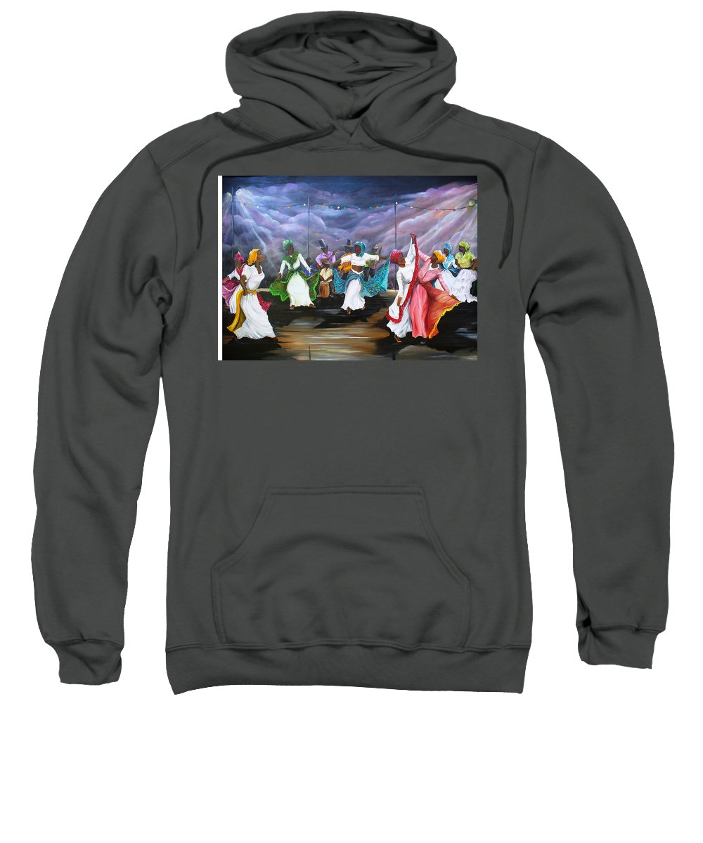Caribbean Painting Original Painting Folklore Dance Painting Trinidad And Tobago Painting Dance Painting Tropical Painting Sweatshirt featuring the painting Dance The Pique by Karin Dawn Kelshall- Best