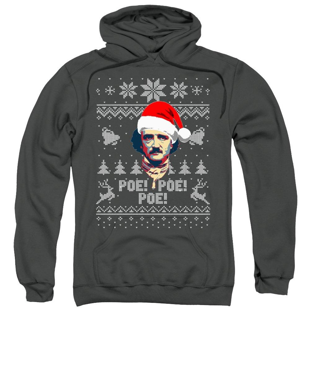 Santa Sweatshirt featuring the digital art Edgar Allan Poe Ho Ho Ho Poe Poe Poe by Filip Schpindel
