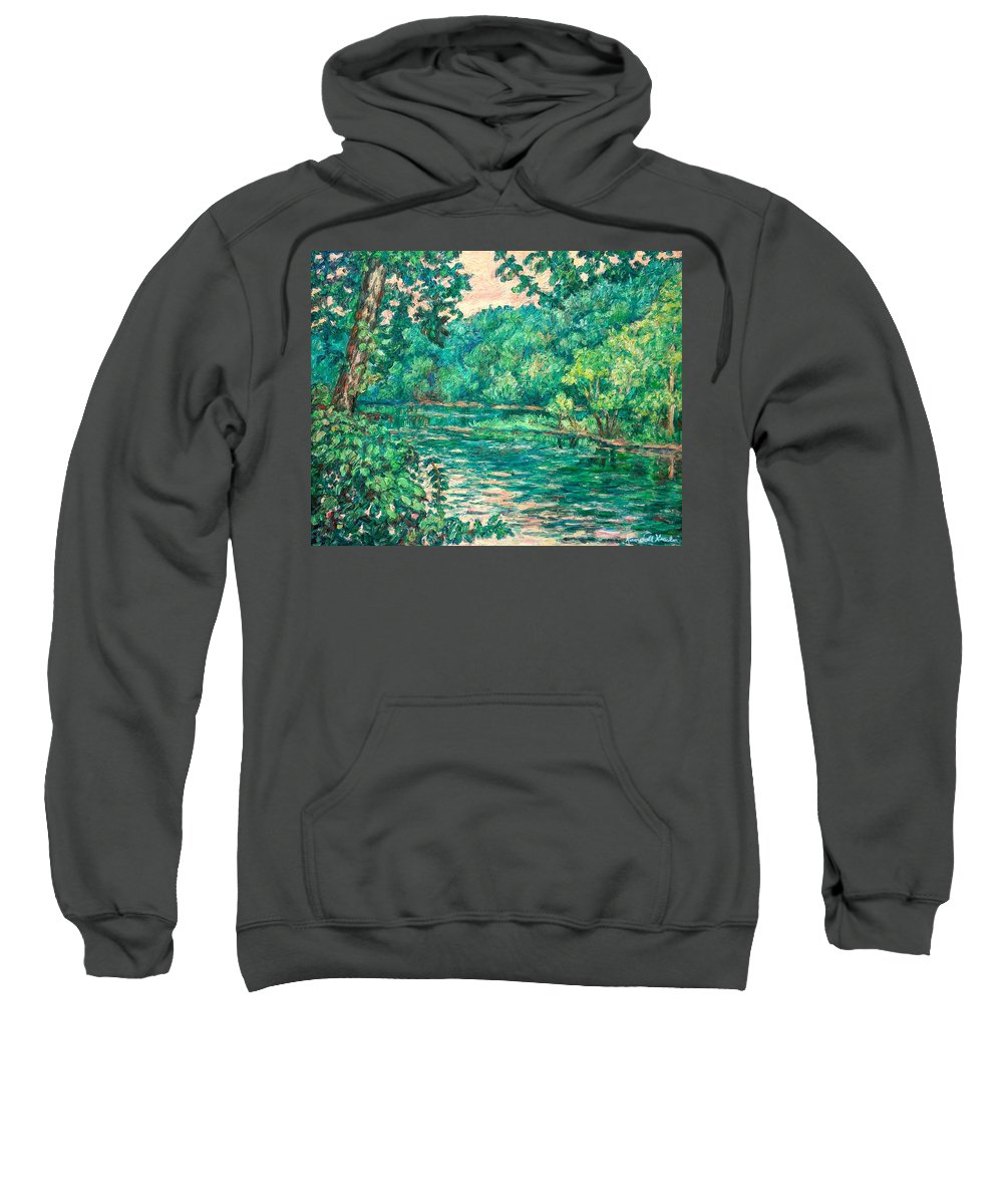 Landscape Sweatshirt featuring the painting Evening River Motion by Kendall Kessler