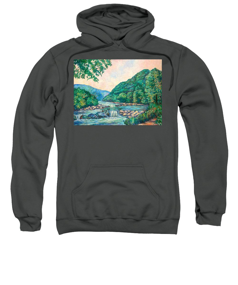 Landscape Sweatshirt featuring the painting Evening River Scene by Kendall Kessler