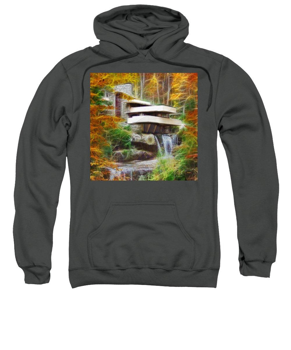 Frank Lloyd Wright Sweatshirt featuring the digital art Fixer Upper - Square Version - Frank Lloyd Wright's Fallingwater by Studio B Prints
