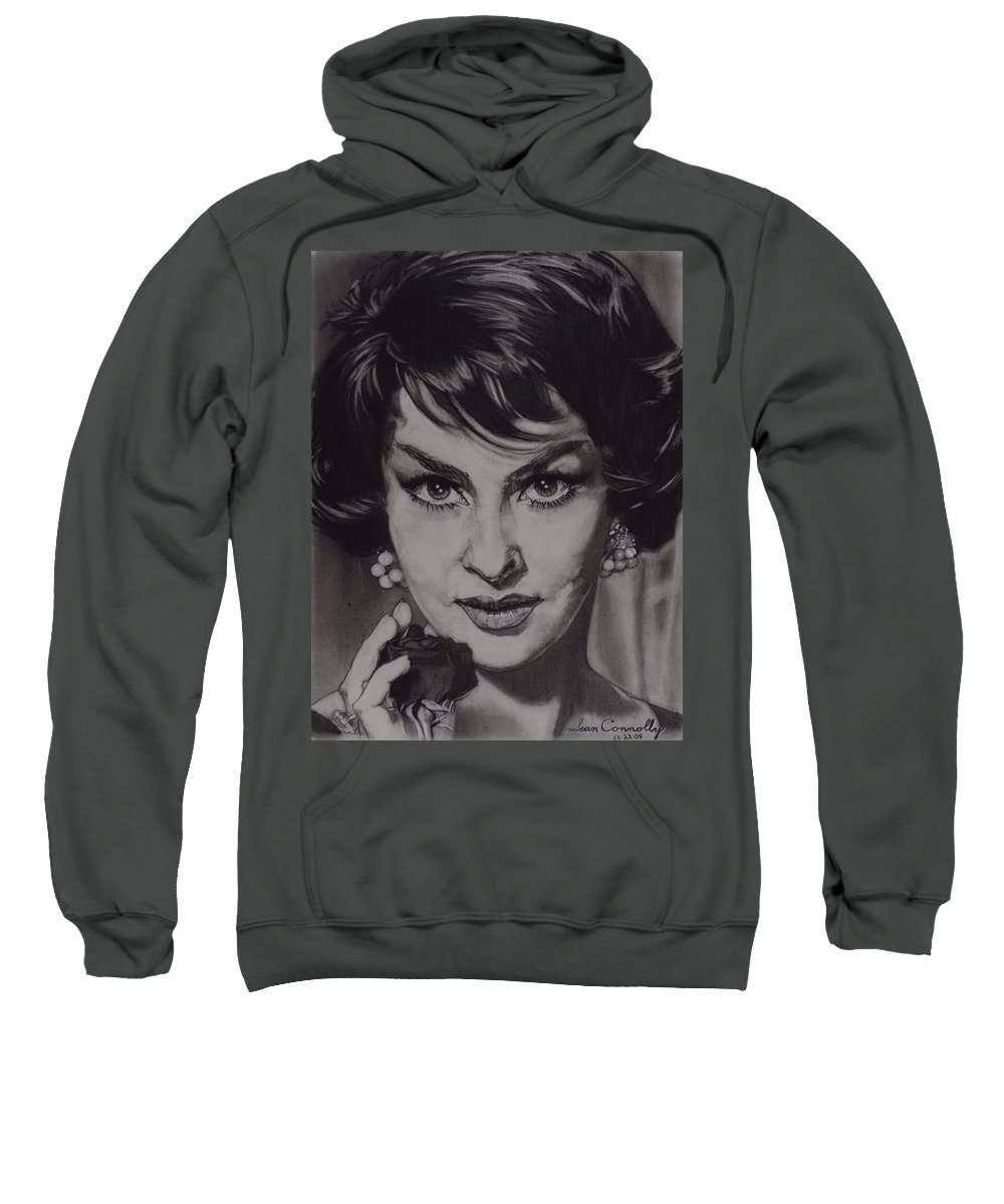 Charcoal Pencil On Paper Sweatshirt featuring the drawing Gina Lollobrigida by Sean Connolly