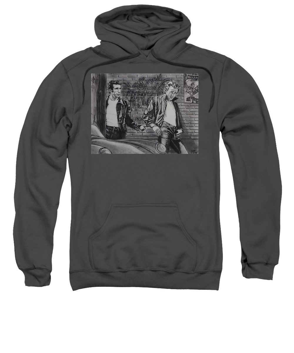 Charcoal Pencil On Paper Sweatshirt featuring the drawing James Dean Meets The Fonz by Sean Connolly