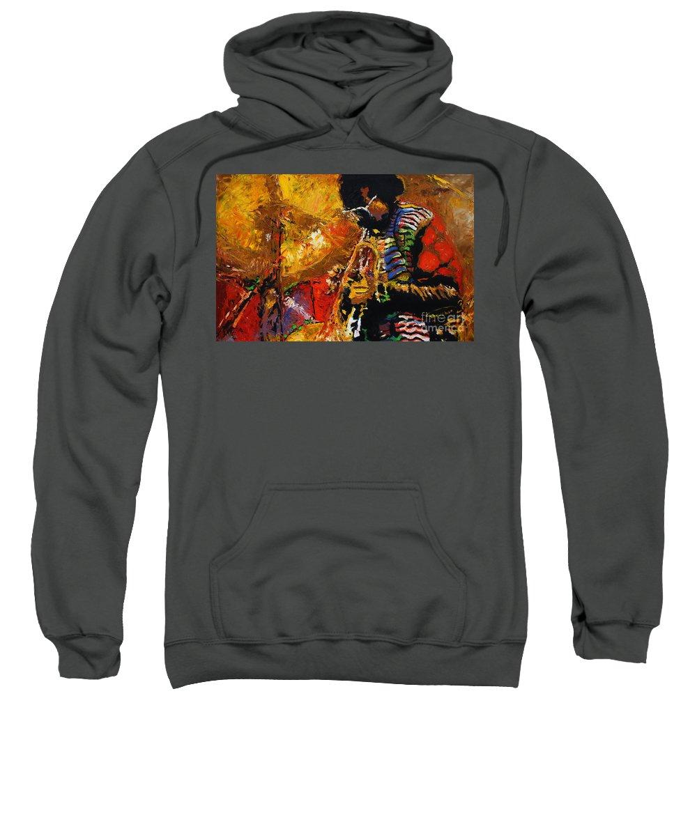 Jazz Sweatshirt featuring the painting Jazz Miles Davis 3 by Yuriy Shevchuk