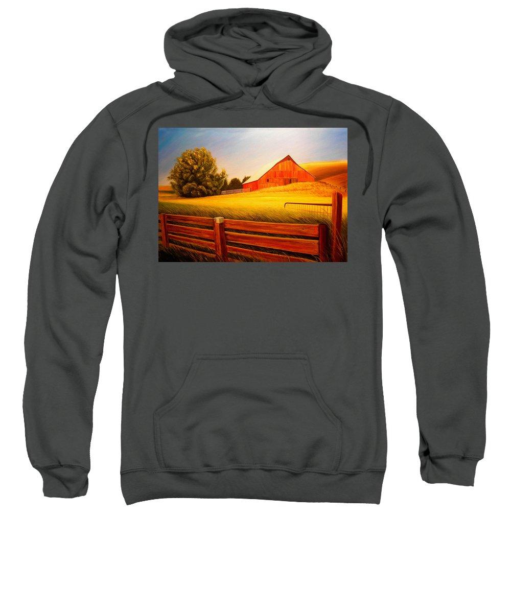 Wheat Sweatshirt featuring the painting La Crosse Barn by Leonard Heid
