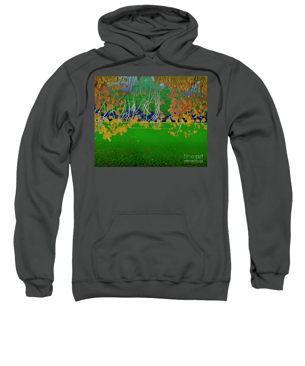Landscape Sweatshirt featuring the mixed media Late Summer by Jarle Rosseland