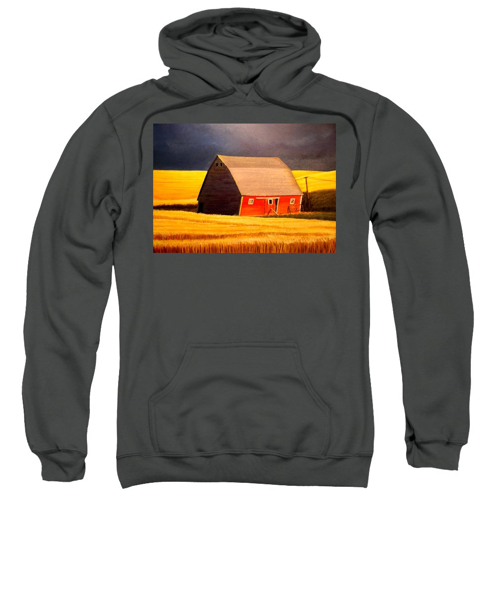 Barn Sweatshirt featuring the painting Leans to the Right by Leonard Heid