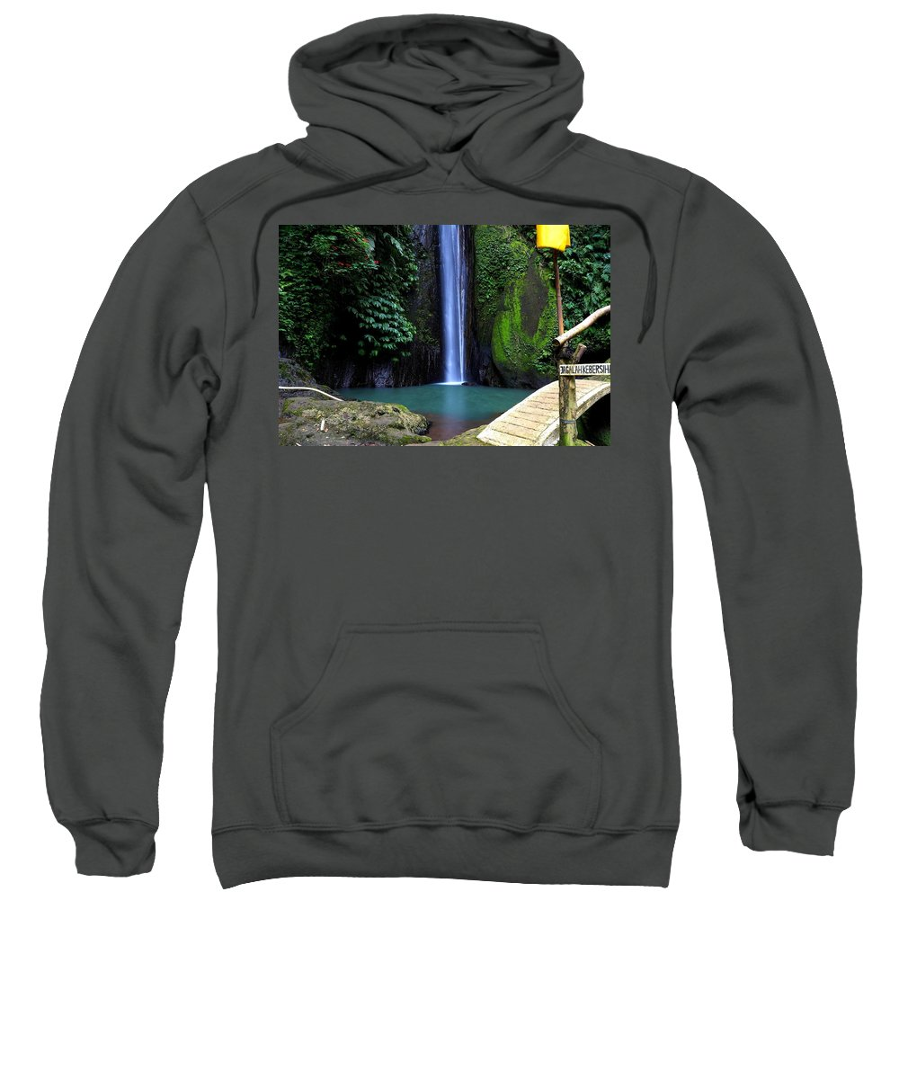 Waterfall Sweatshirt featuring the digital art Lonely waterfall by Worldvibes1