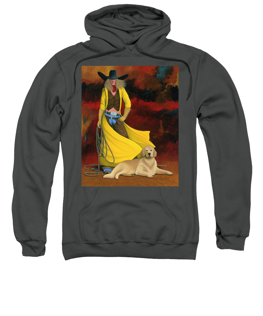 Cowgirl Girl And Dog Sweatshirt featuring the painting Man's Best Friend by Lance Headlee