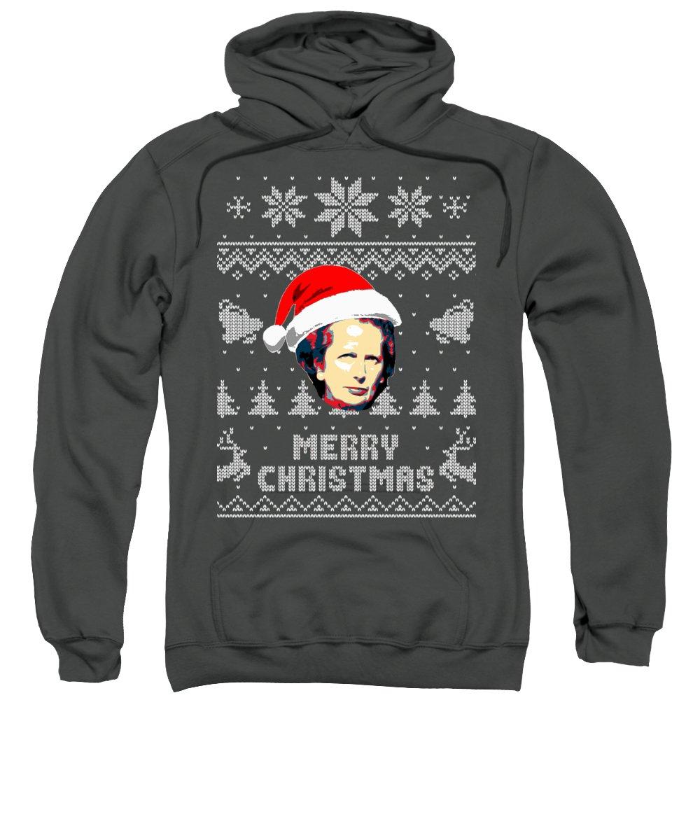 Uk Sweatshirt featuring the digital art Margaret Thatcher Merry Christmas by Filip Schpindel