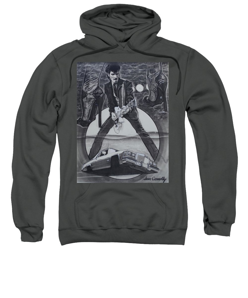 Charcoal Pencil On Paper Sweatshirt featuring the drawing Mink DeVille by Sean Connolly