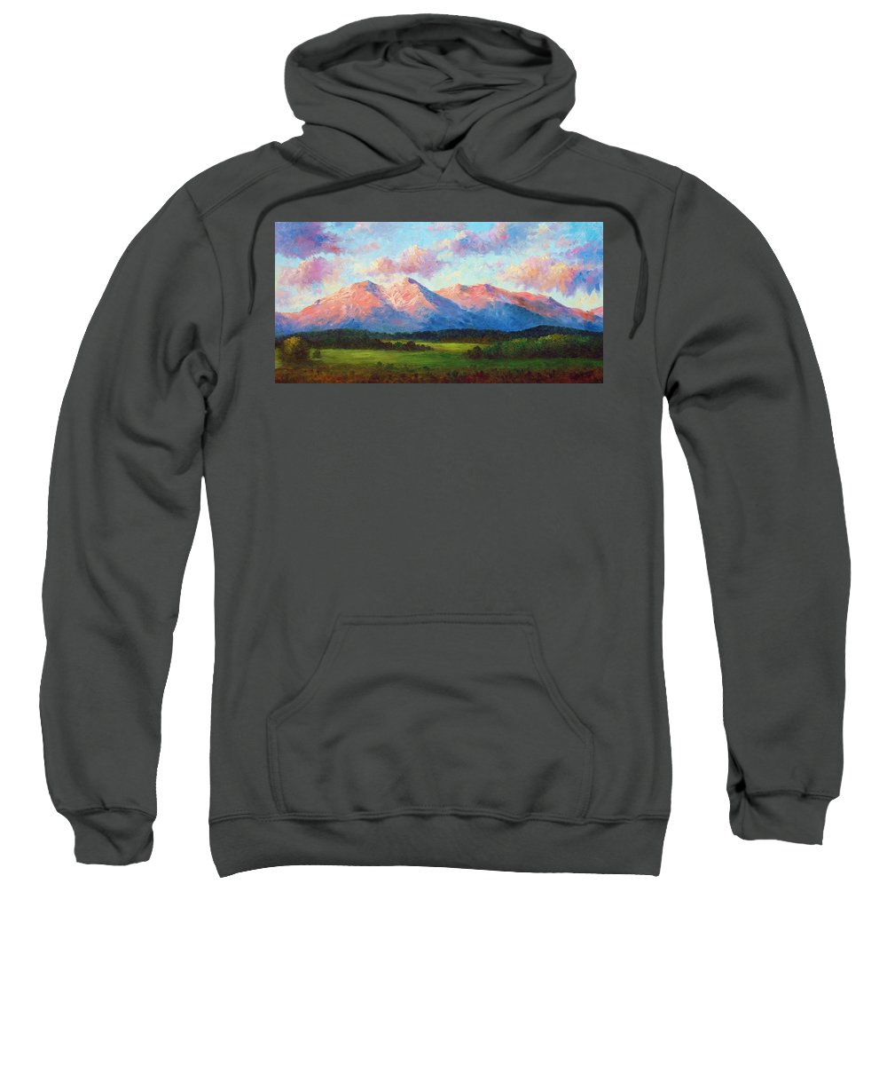 Landscape Sweatshirt featuring the painting Morning Light On Mount Shavano by David G Paul