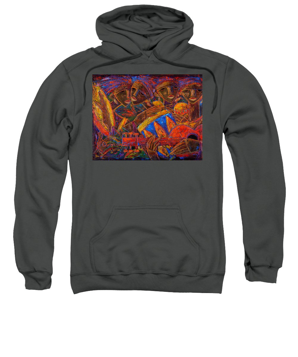 Puerto Rico Sweatshirt featuring the painting Musas Del Caribe by Oscar Ortiz