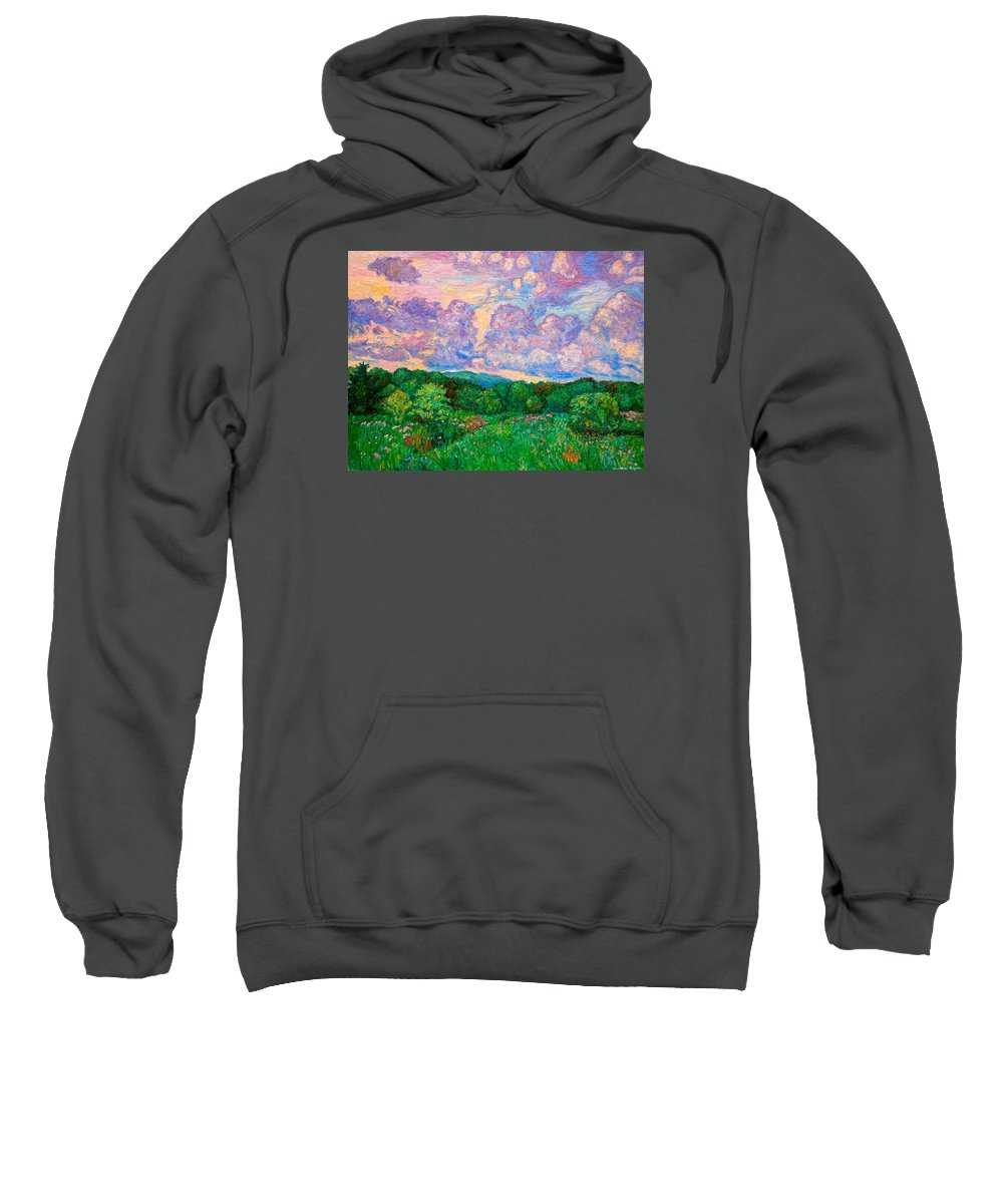 Landscape Sweatshirt featuring the painting Mushroom Clouds by Kendall Kessler