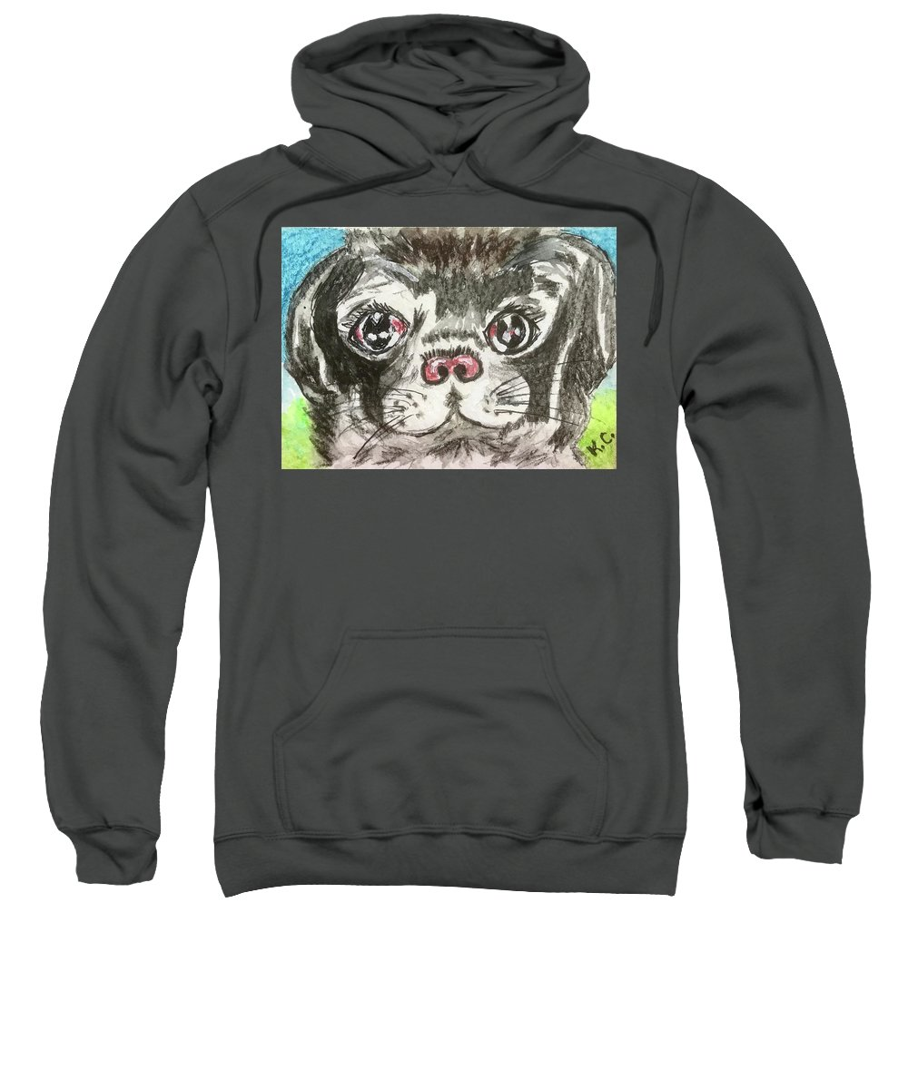 Little Black Pug Sweatshirt featuring the painting My Little Black Pug by Kathy Marrs Chandler