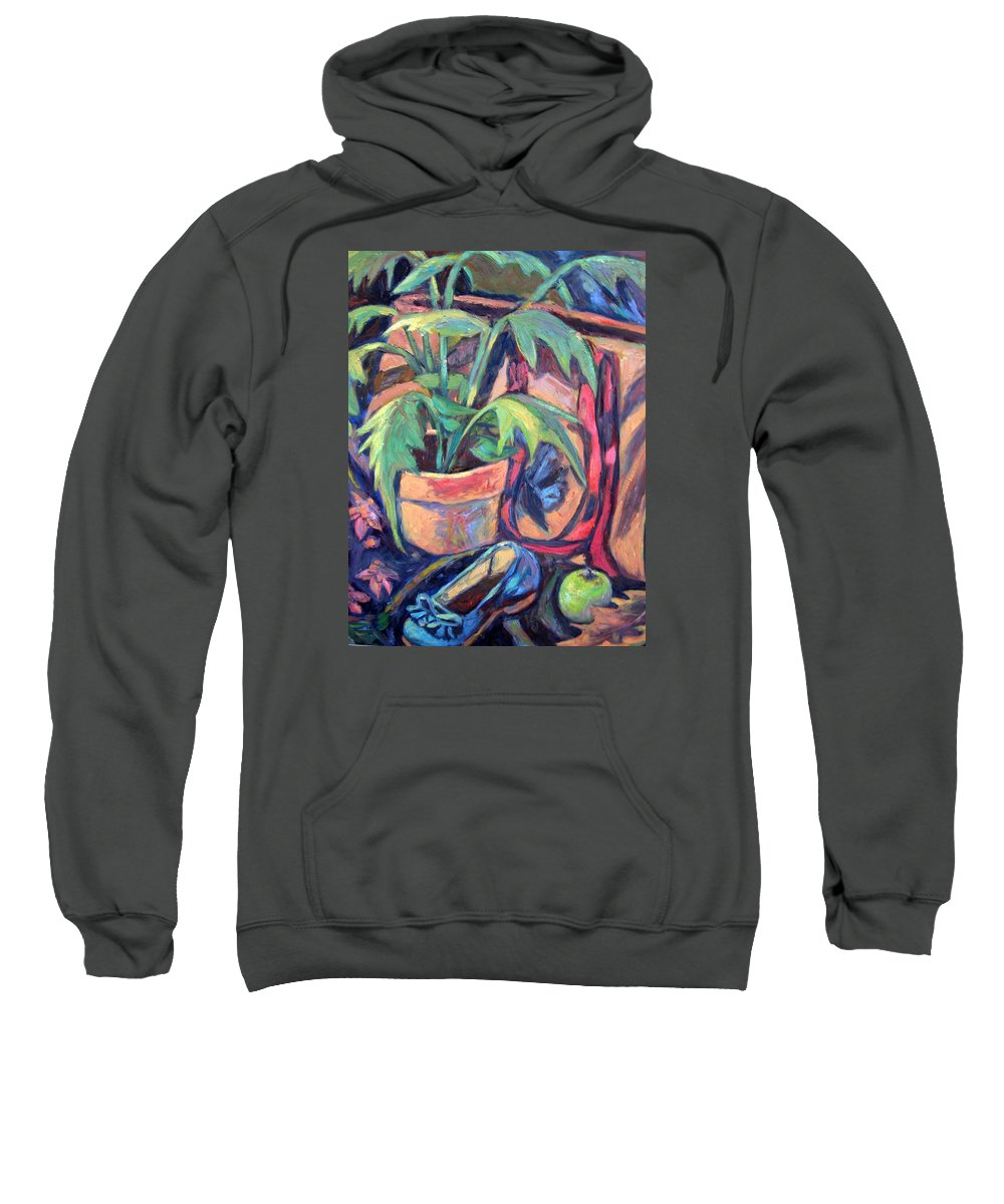 Plant Sweatshirt featuring the painting My Old Shoe by Kendall Kessler