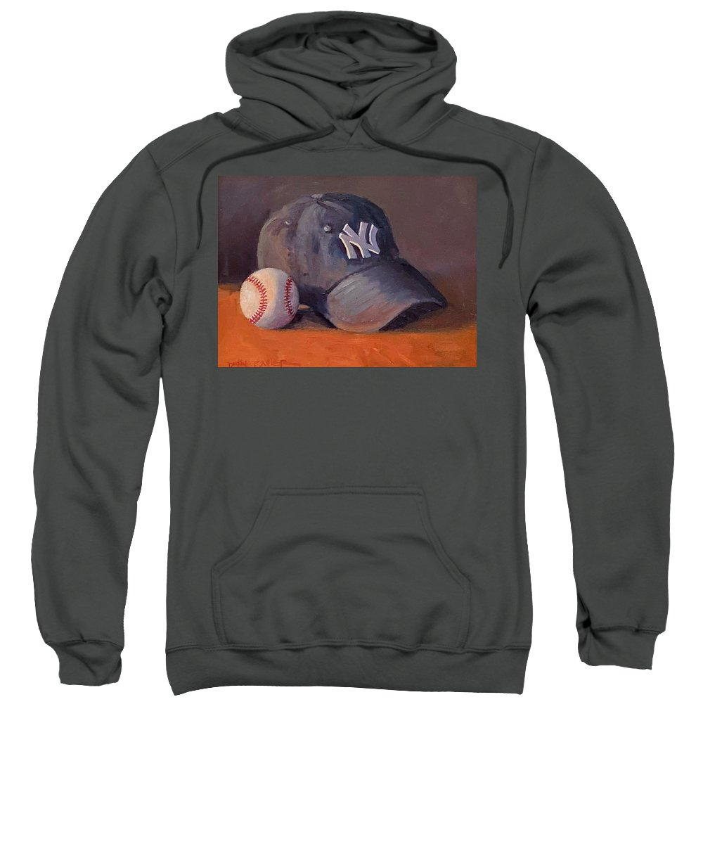 New York Sweatshirt featuring the painting New York Baseball Fan by Dianne Panarelli Miller