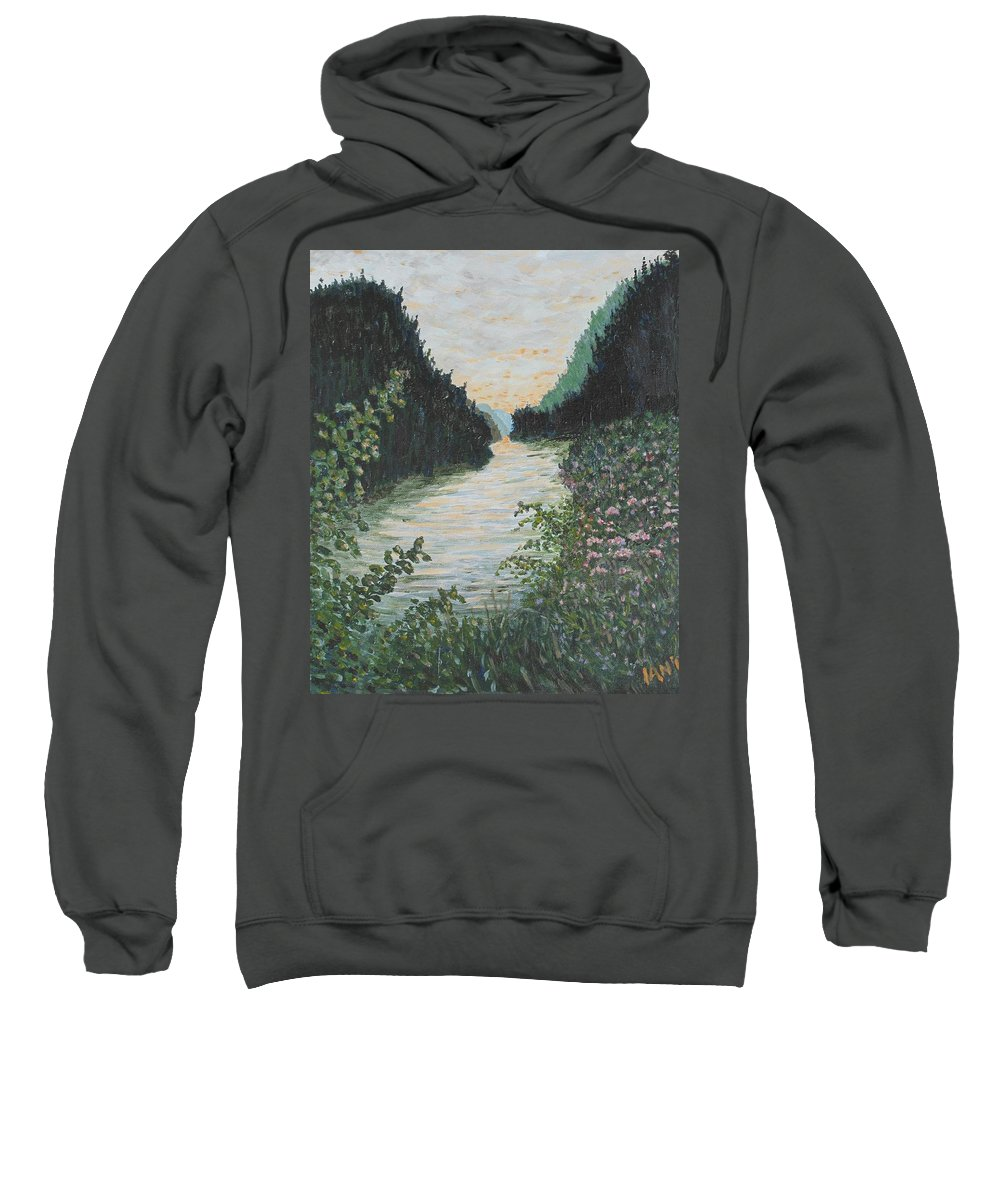 Agawa Canyon Sweatshirt featuring the painting North of Sault Ste. Marie by Ian MacDonald