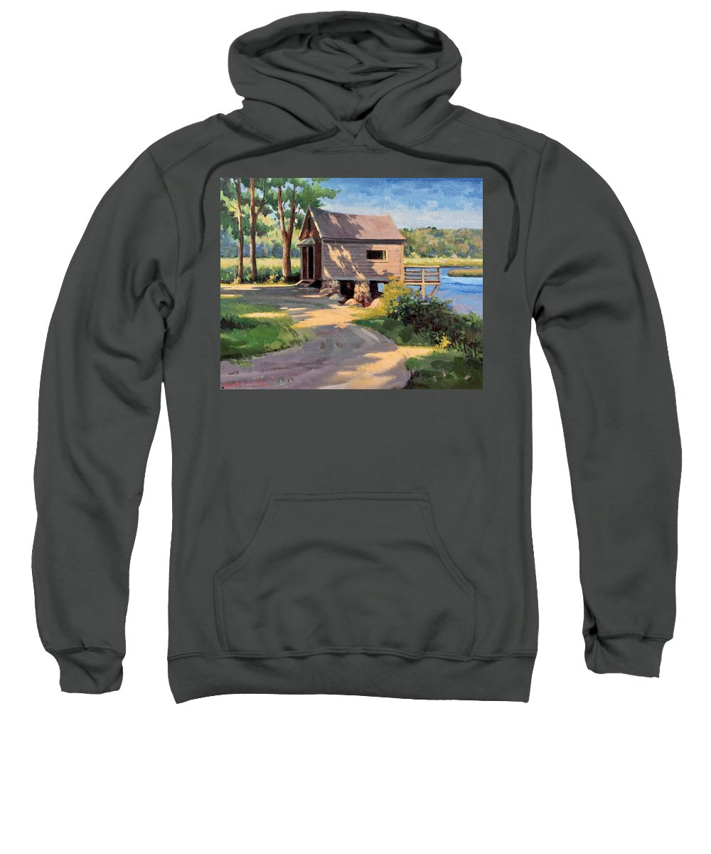 Norwell Sweatshirt featuring the painting Norwell Boathouse by Dianne Panarelli Miller
