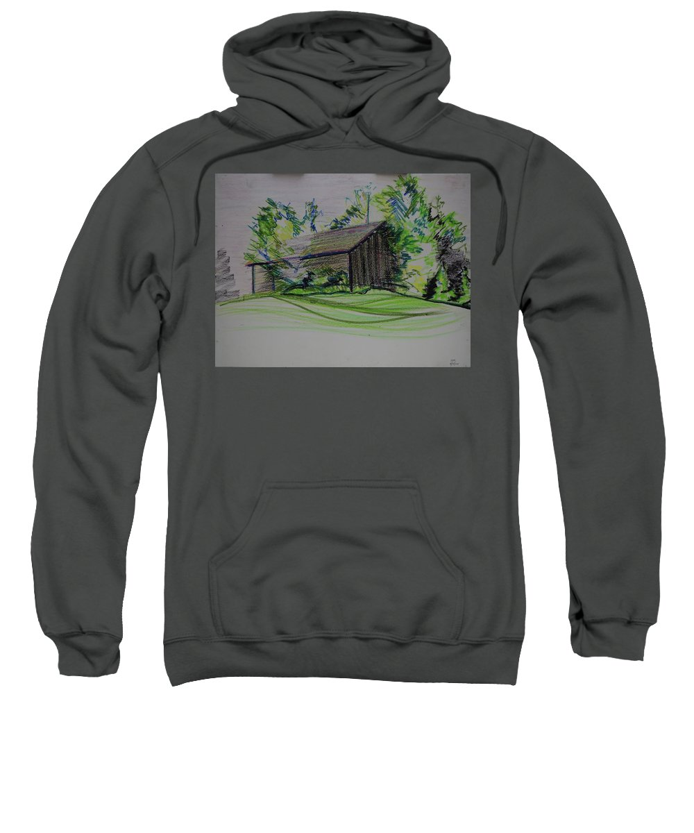 Plein Air Sweatshirt featuring the pastel Old Barn At Wason Pond by Sean Connolly