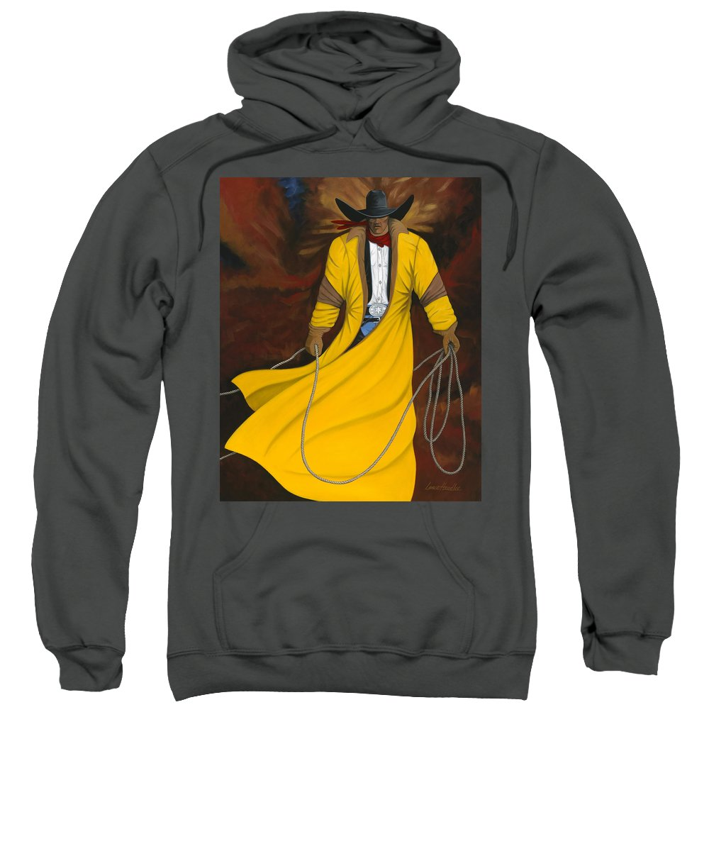 Arizona Western Art Sweatshirt featuring the painting One Cowboy by Lance Headlee