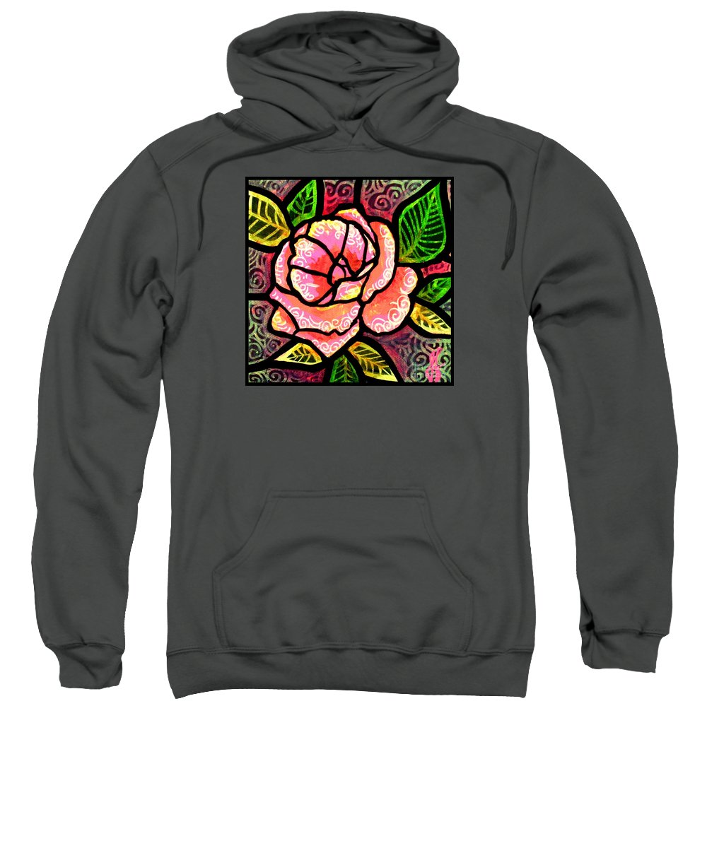Rose Sweatshirt featuring the painting Pink Rose of Love by Jim Harris