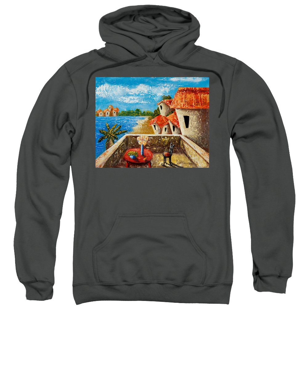 Landscape Sweatshirt featuring the painting Playa Gorda by Oscar Ortiz
