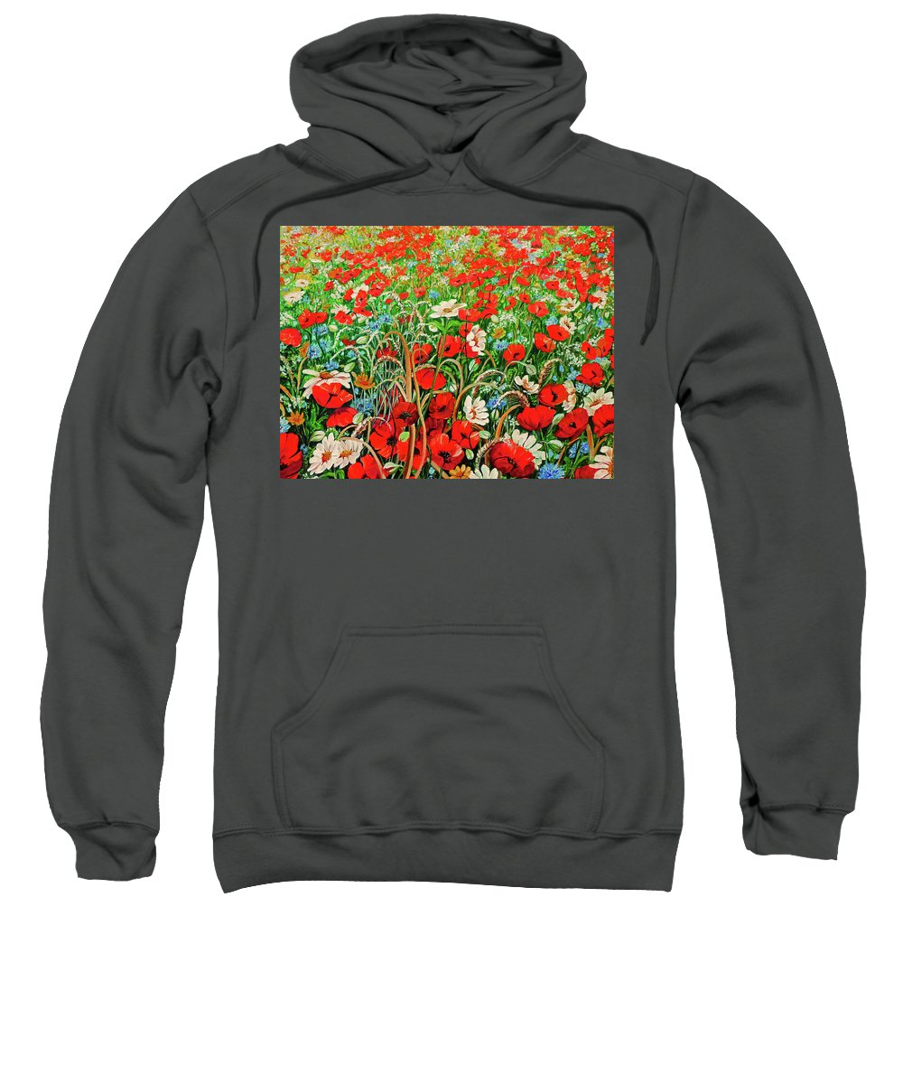 Floral Painting Flower Painting Red Poppies Painting Daisy Painting Field Poppies Painting Field Poppies Floral Flowers Wild Botanical Painting Red Painting Greeting Card Painting Sweatshirt featuring the painting Poppies In The Wild by Karin Dawn Kelshall- Best