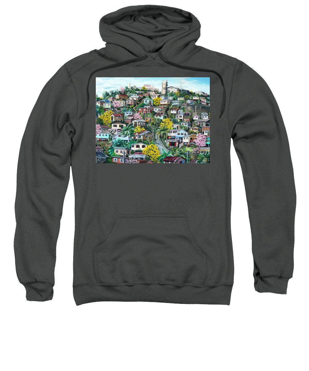 Landscape Painting Cityscape Painting Original Oil Painting  Blossoming Poui Tree Painting Lavantille Hill Trinidad And Tobago Painting Caribbean Painting Tropical Painting Sweatshirt featuring the painting Poui On The Hill by Karin Dawn Kelshall- Best