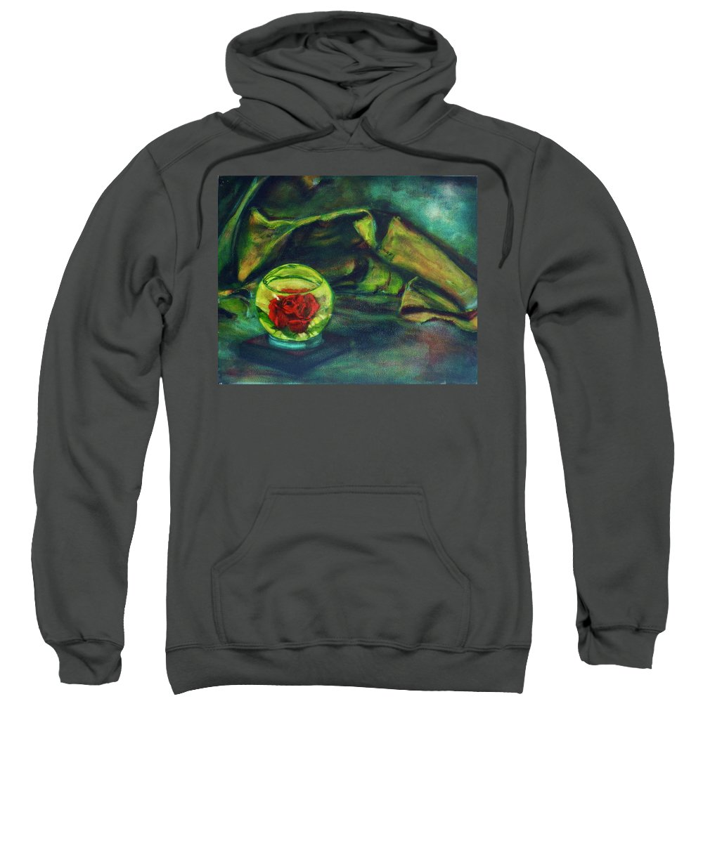 Oil Painting On Canvas Sweatshirt featuring the painting Preserved Rose . . Draped Canvas by Sean Connolly