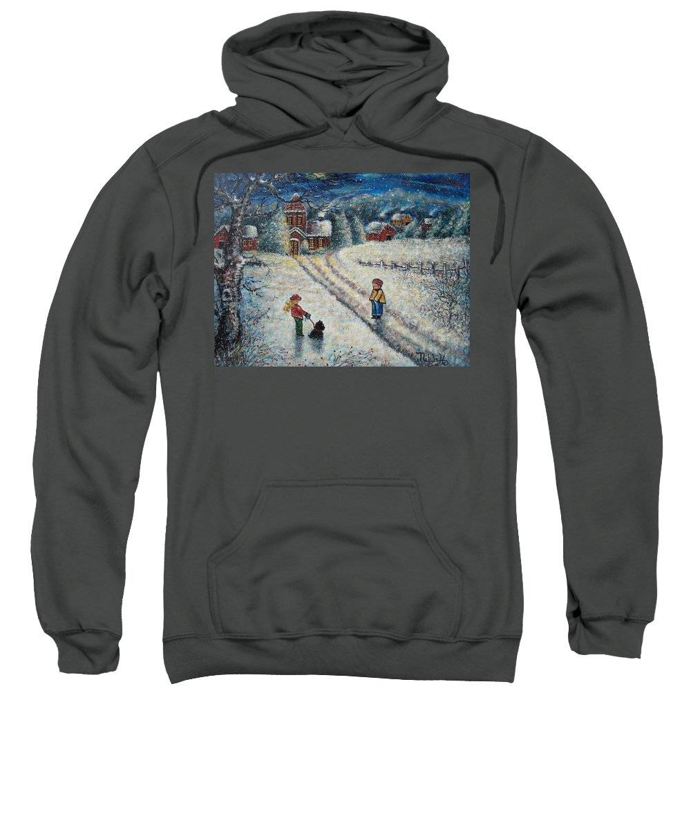 Landscape Sweatshirt featuring the painting Puff and Kassidy by Natalie Holland
