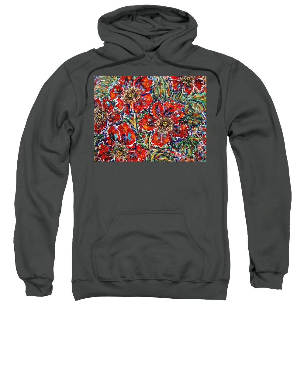 Flowers Sweatshirt featuring the painting Red Fantasy Poppies by Natalie Holland