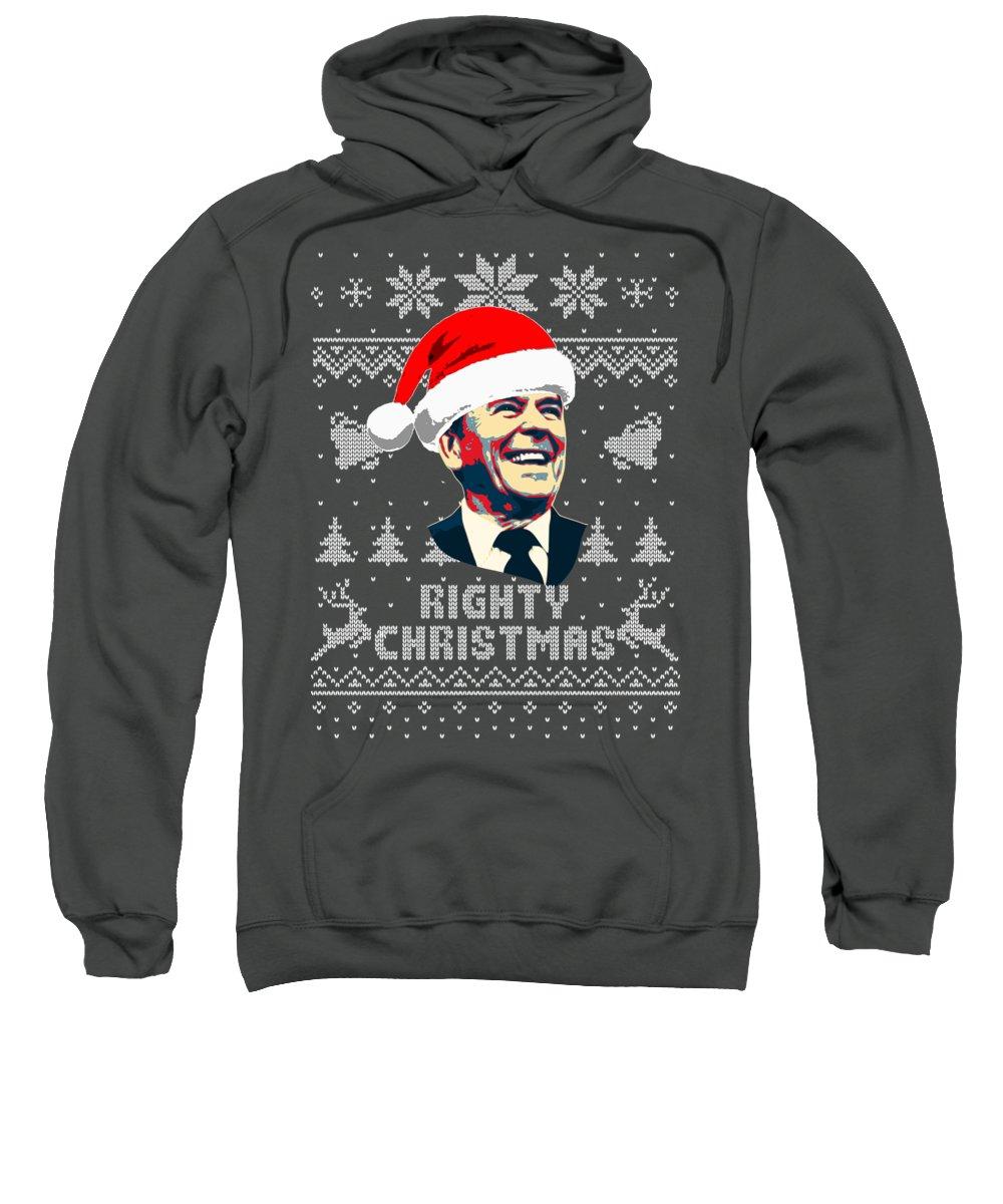 Santa Sweatshirt featuring the digital art Ronald Reagan Righty Christmas by Filip Schpindel