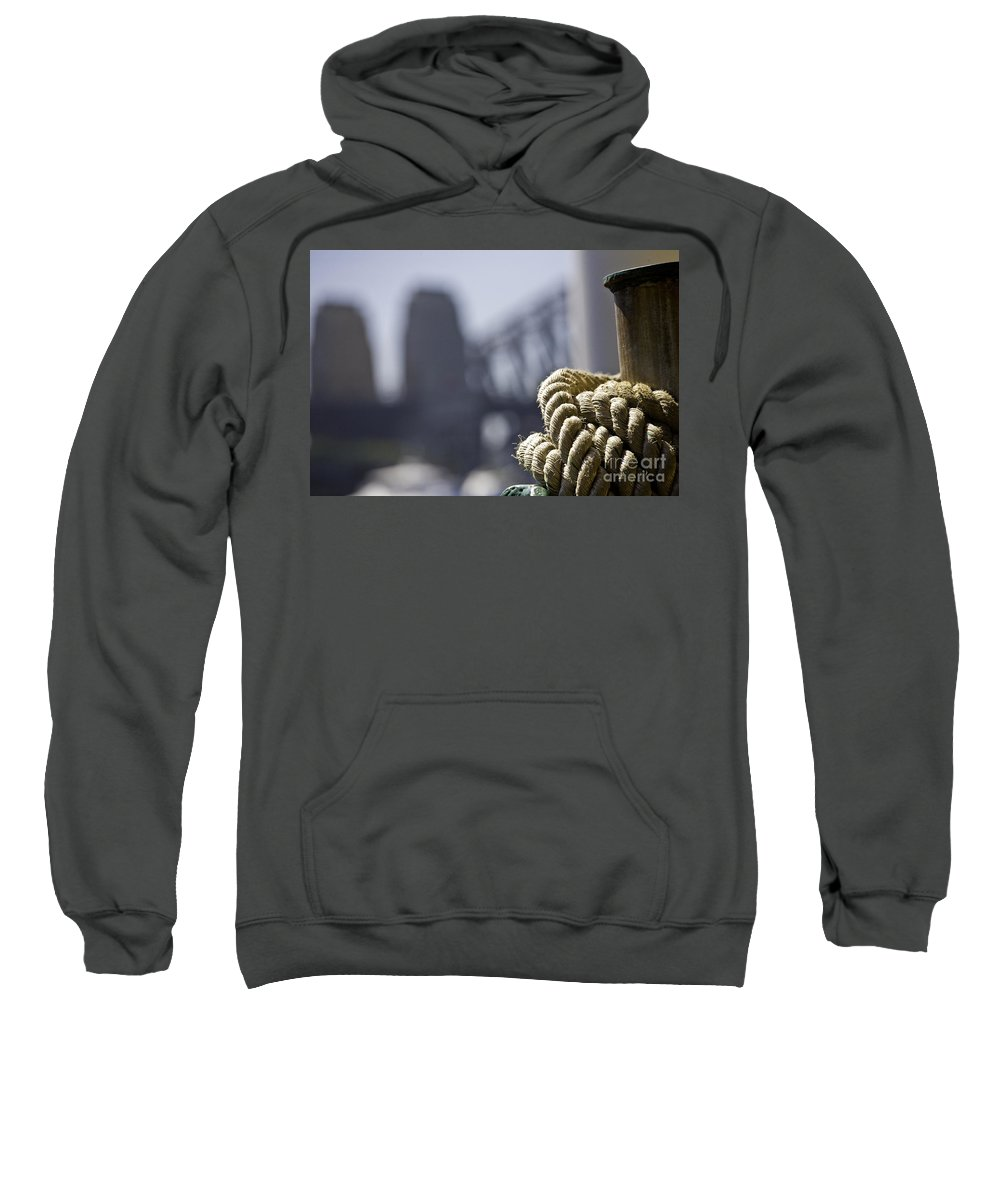 Sydney Harbour Sweatshirt featuring the photograph Ropes with Harbour backdrop by Sheila Smart Fine Art Photography