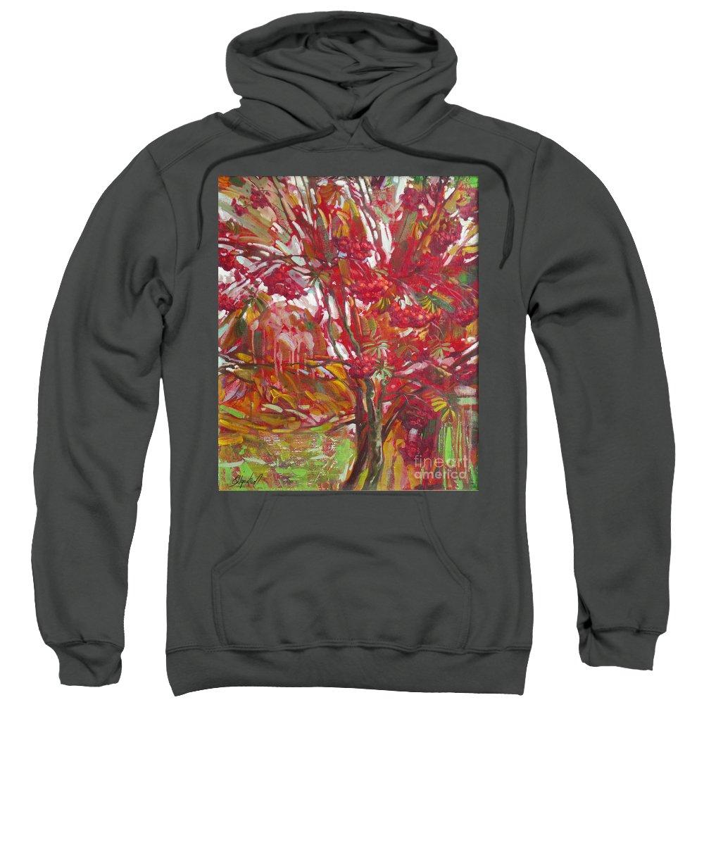 Oil Sweatshirt featuring the painting Rowan tree by Sergey Ignatenko