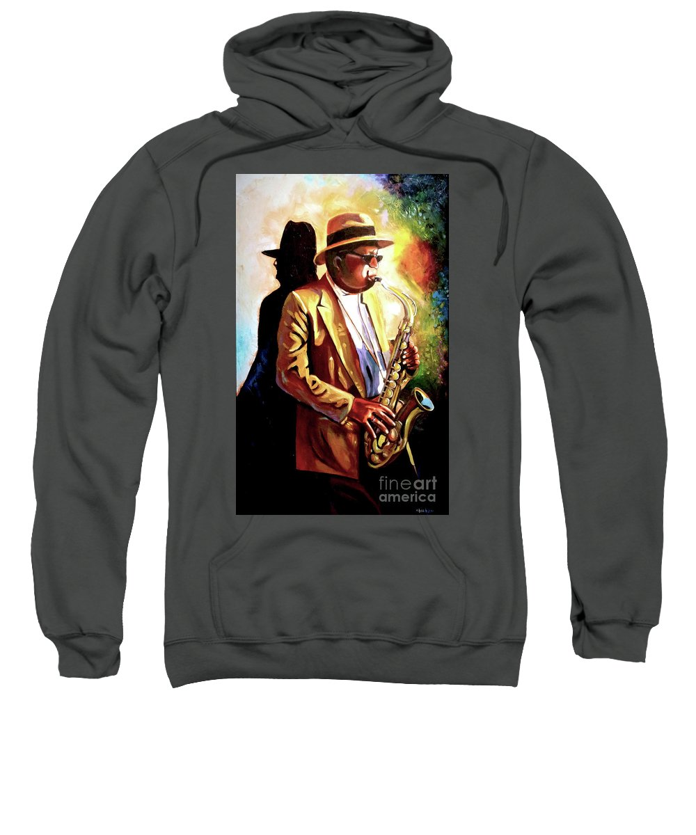 Sax Sweatshirt featuring the painting Sax Player by Jose Manuel Abraham