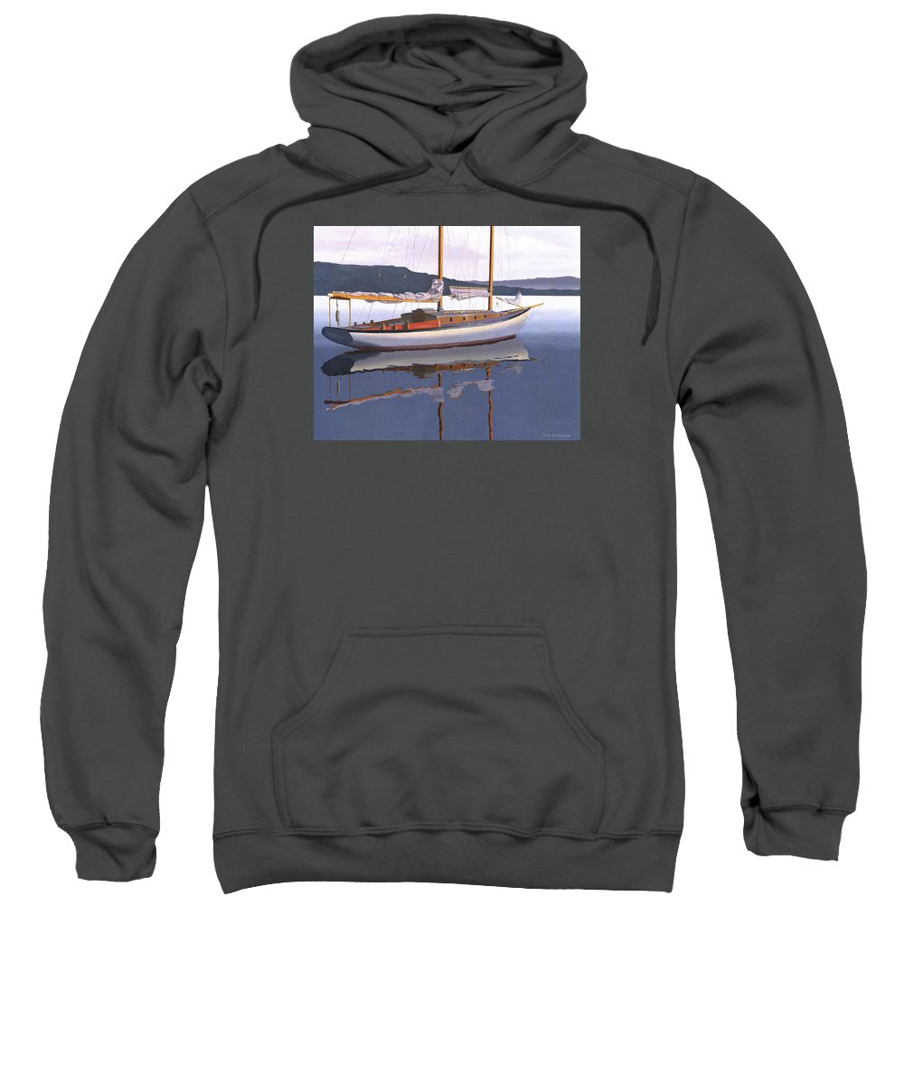 Schooner Sweatshirt featuring the painting Schooner at dusk by Gary Giacomelli
