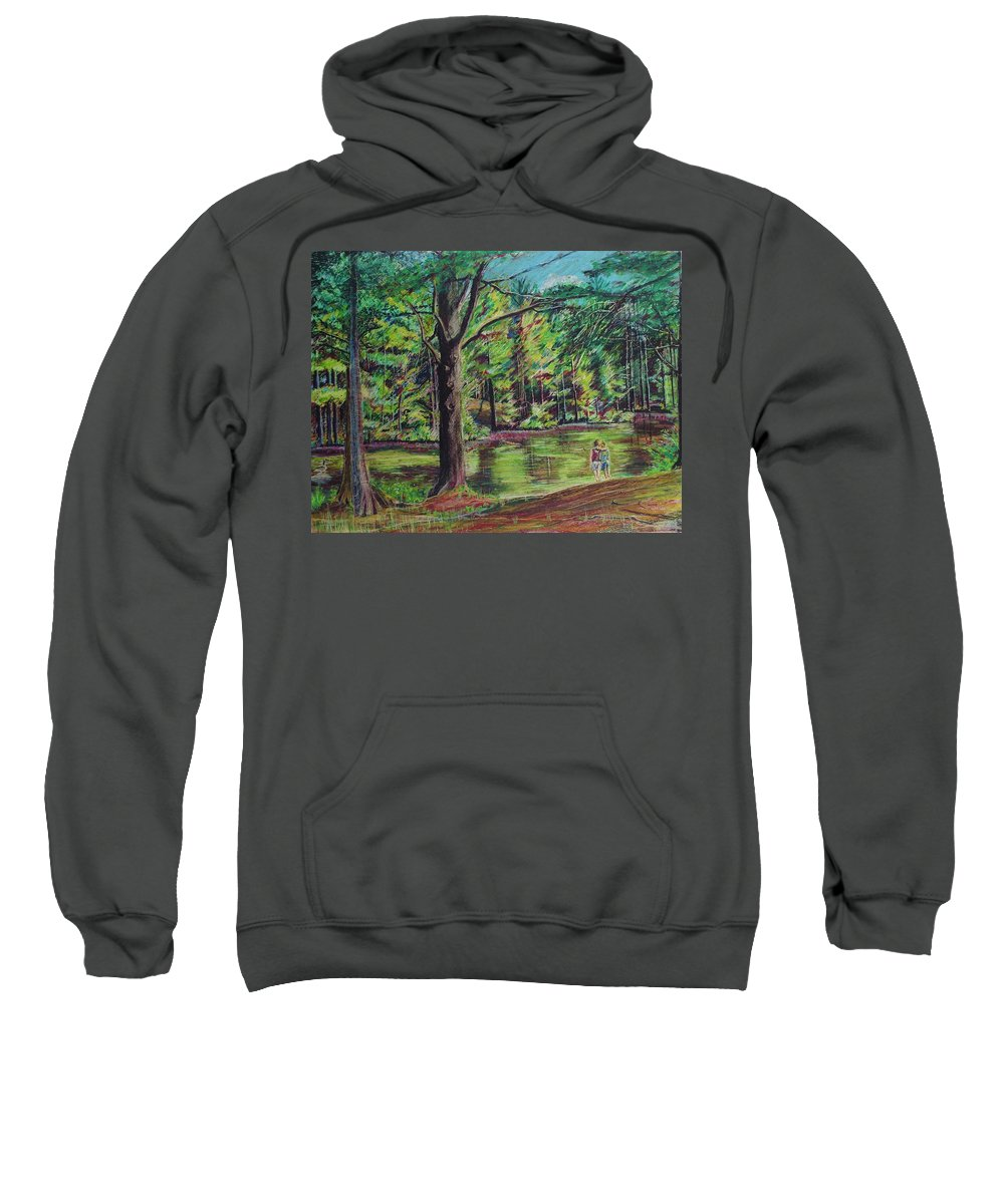 Family Sweatshirt featuring the pastel Sisters At Wason Pond by Sean Connolly