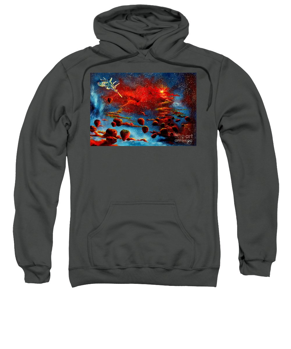 Nova Sweatshirt featuring the painting Starberry Nova Alien excape by Murphy Elliott