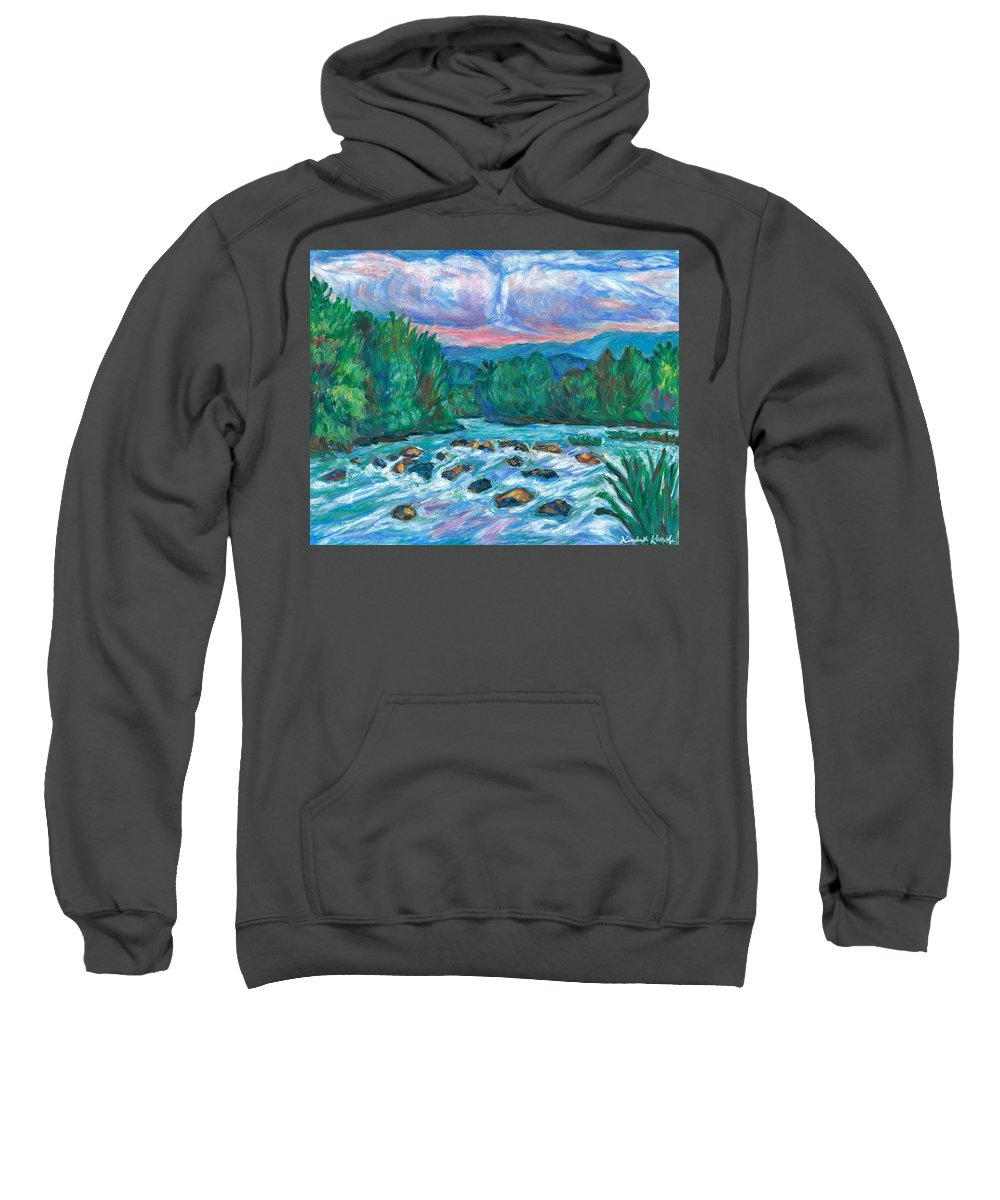 Landscape Sweatshirt featuring the painting Stepping Stones on the New River by Kendall Kessler