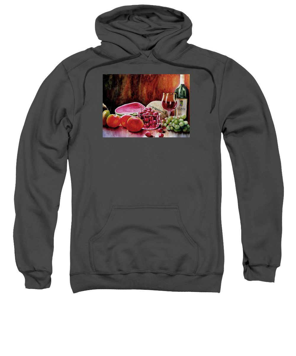Wine Sweatshirt featuring the painting Summer Syrah by Karen Stark