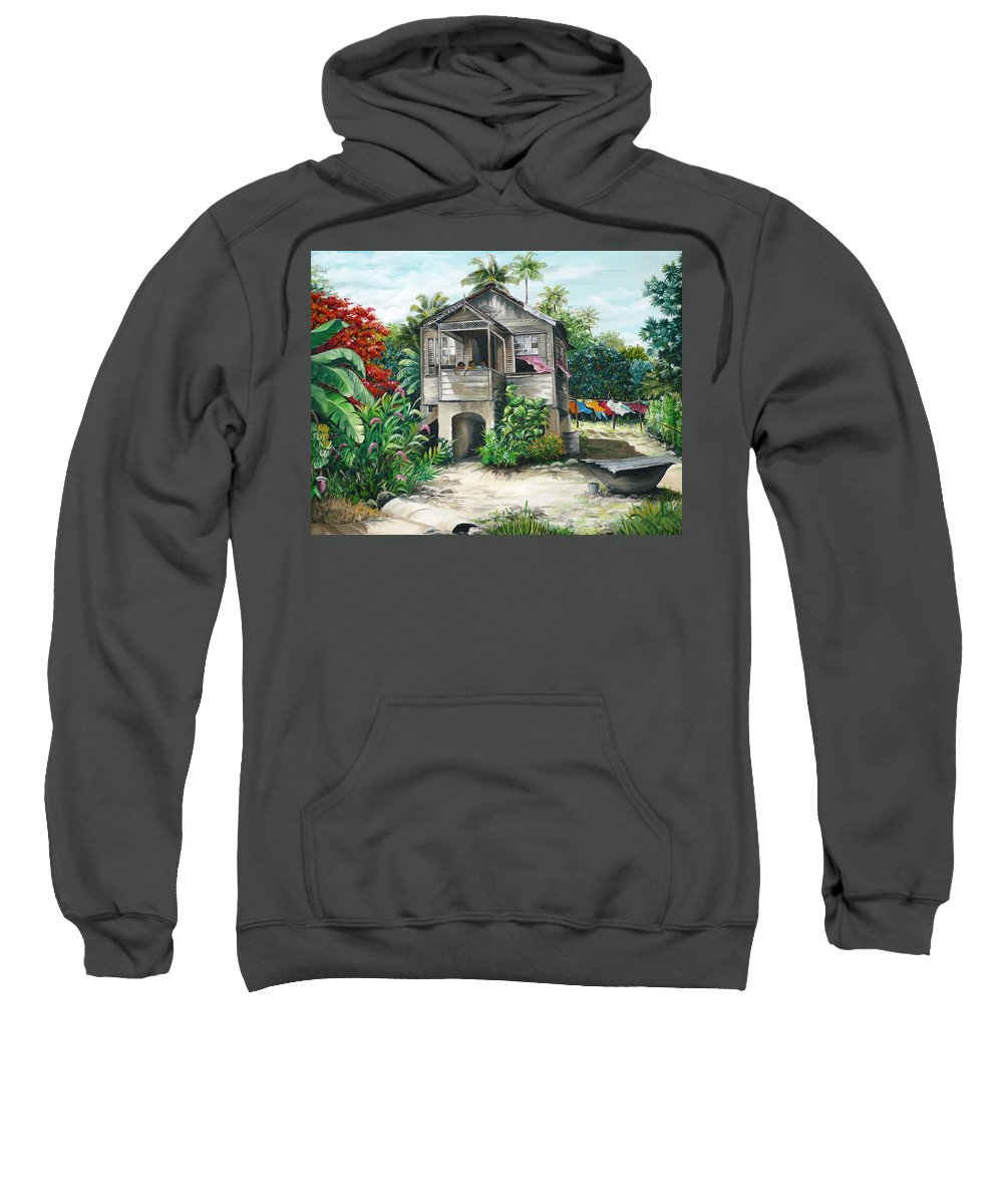 Landscape Painting Caribbean Painting House Painting Tobago Painting Trinidad Painting Tropical Painting Flamboyant Painting Banana Painting Trees Painting Original Painting Of Typical Country House In Trinidad And Tobago Sweatshirt featuring the painting Sweet Island Life by Karin Dawn Kelshall- Best