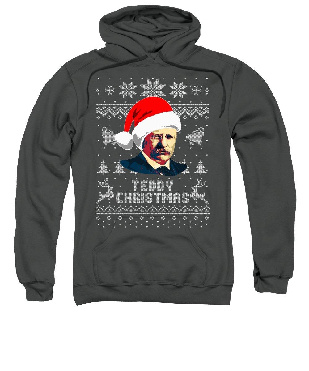 Santa Sweatshirt featuring the digital art Theodore Roosevelt Teddy Christmas by Filip Schpindel