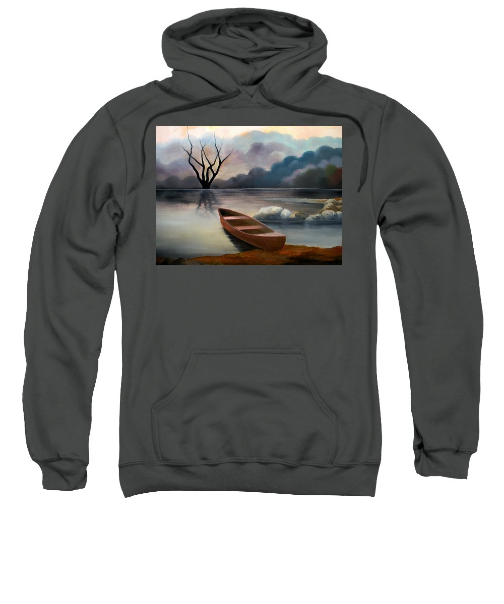Duck Sweatshirt featuring the painting Tranquility by Sergey Bezhinets
