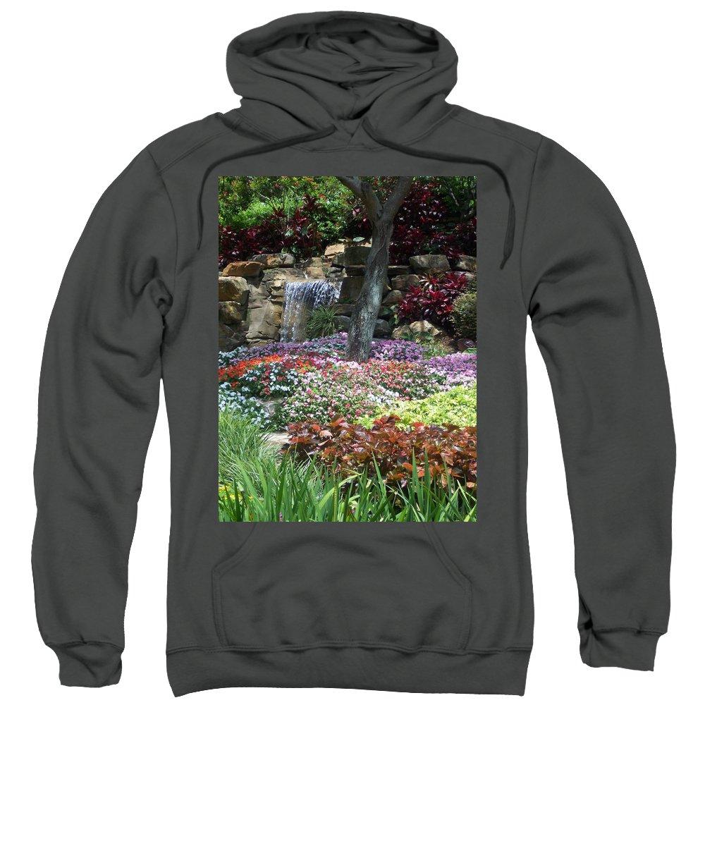 Garden Sweatshirt featuring the photograph Waterfall Garden by Pharris Art