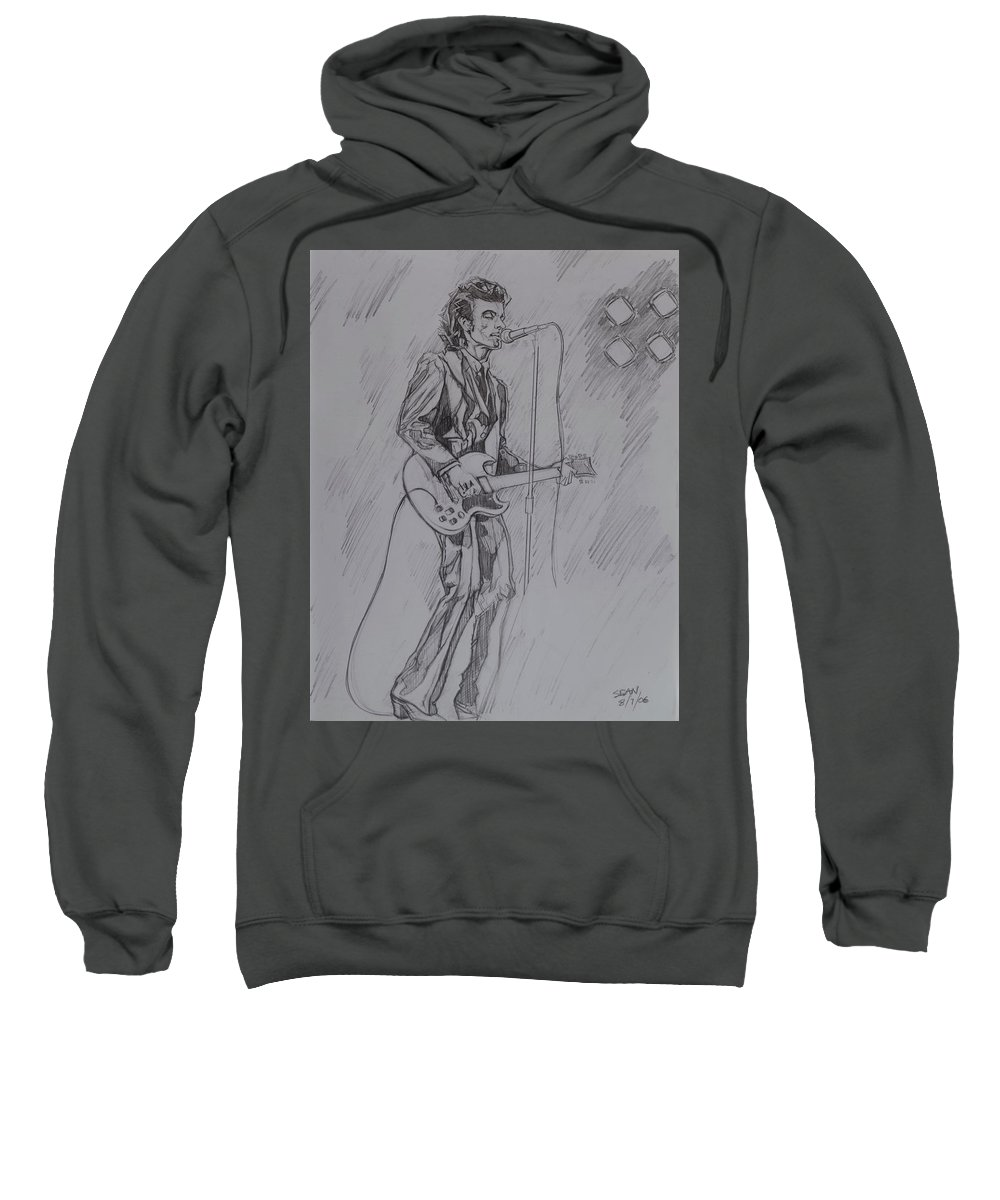 Pencil Sweatshirt featuring the drawing Willy DeVille - Steady Drivin' Man by Sean Connolly